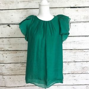 BCBG Maxazria Emerald Green Ruffle Sleeve Top Sz M